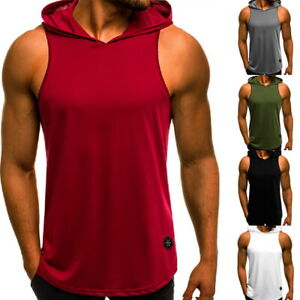Men Muscle Hoodie Tank Top Sleeveless Vest Gym Workout Bodybuilding T-shirt US