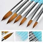 6pcs/set Pure Kolinsky Sable Acrylic Nail Brush Crimped Metal Round Handle Tools