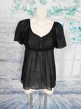 Twelfth Street Cynthia Vincent Black Silk Cotton Woven Short Sleeve Blouse Top S