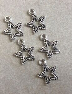 Antique Silver Hollow Star Charms, Detailed, 17x15mm, 5pcs, Jewellery Making