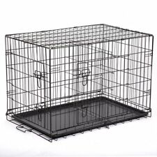"Extra Large 48"" Folding Pet Dog Cage Crate Kennel With Plastic Pan Black-160"