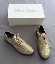 NEW Miss Grant GIRLS GOLD GLITTER LACE UP FLAT SHOES 4 - 4.5 US 5 SZ 37
