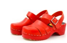 Swedish HASBEENS Red Rounded Toe Clogs rrp £62 UK 2.5 EU 35 LG05 54