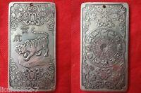 Old Chinese tibet Silver Chinese Zodiac tiger Bullion thanka amulet Pendant