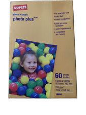 New Staples PHOTO PLUS Gloss Paper Inkjet Compatible 60 sheets 4x6 72lb 10.5 mil