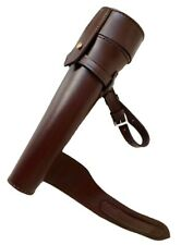 NEW BROWN SADDLE HIP STEEL FLASK & THICK LEATHER CASE BATON FOX HUNTING