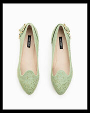 "NWOB ShoeMint Rachel Bilson Mint Green Studded Buckle Suede ""Ruby"" Flats 7 $80"