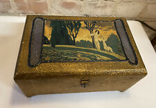 ART DECO Donald F Duncan Wood Novelties Chicago IL Painted Jewelry Box NR