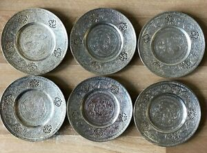 Lovely Set of 6 Persian Silver Finely Chased Small Plates