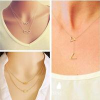 Fashion Jewelry Girls Infinity Choker Statement Bib Charm Chain Necklace Pendant