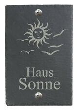 Türschild Namensschild Klingelschild groß mit Wunsch-Gravur Schiefer BK Sonne