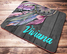 Personalized Boho Dream Catcher Mouse Pad Pink Purple Feathers Desk Accessories