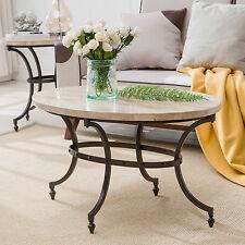 KD Furnishings Tan/Black Steel Oval Travertine Stone Top Coffee Table with Base