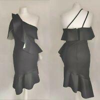 ASOS Women Dress Little Black Dress Bodycon One Shoulder Ruffle Fishtail  UK 10