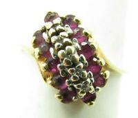 10K YELLOW GOLD Vintage RUBY DIAMOND CLUSTER RING Dainty DIAGONAL 1/2TCW sz 6.5