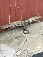 "Antique 1850s Lg 63"" Double Ox Yoke Heavy Iron Wood RARE 19th Century Primitive"