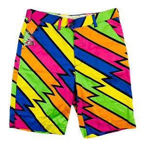 Loudmouth Lightning Multicolor Rare Golf Shorts Size Mens 34 NWT