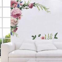 2Pcs Peony Rose Flower Wall Sticker Wall Decal Nursery Art Home Decoration D6W6