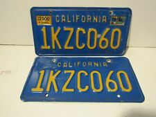 DMV cleared Blue and Yellow California License set, pair Plates Embossed