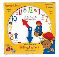 Paddington Bear Educational Children's wooden clock - Rainbow Designs
