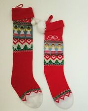 Lot of 2 Vintage Hallmark Christmas Stockings Red Knit Angels Poms Small Large