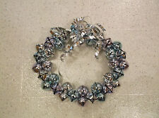 """Holiday wreath of sleigh bells in light lilac, turquoise silver colors, 12"""""""