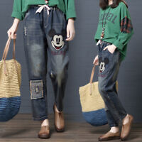 Embroidered Denim Mickey Jeans Women High Waisted Elastic Mom Vintage Denim Pant