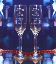 Personalised Mr Mrs Engraved  Bride Groom Wedding Champagne Flute/Set of 2/60