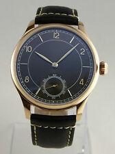 Montre classique mécanique type UNITAS 6498 ROSE GOLD BLACK SUNRAY watch
