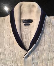 M - XL Vintage POLO RALPH LAUREN 2Tone BLUE Shawl Collar TENNIS CARDIGAN Sweater