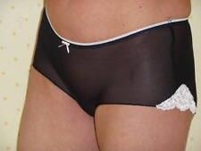 Black stretch mesh boyshorts with pink trim size 10