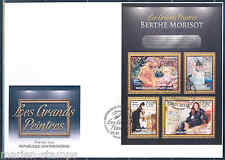 CENTRAL AFRICA 2012 BERTHE MORISOT SHEET FIRST DAY COVER