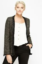 Womens Studded Frayed Trim Speckled Jacket Blazer