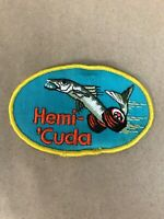 Vtg Hemi Cuda Embroidered Sew On Patch Auto Racing Badge Plymouth Barracuda