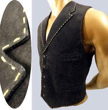 LAPEL vest suede stitch western leather trim fitted victorian steampunk gothic