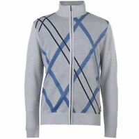 Pierre Cardin Mens Full Zip Argyle Knit Cardigan Jumper Top Long Sleeve High