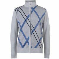 Pierre Cardin Mens Full Zip Argyle Knit Cardigan Jumper Top Long Sleeve High