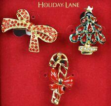 Macy's Charter Club Holiday Lane Enamel Festive Holiday Brooch Pin Set