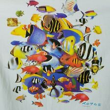 Vintage Mens L All Over Tropical Fish Single Stitch Graphic T Shirt Nwt