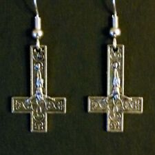 INVERTED CROSS EARRINGS - goth deathrock horrorpunk black metal venom satanic