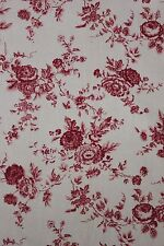 Faded floral French LINEN drape curtain c 1940-1950 backed French country ~