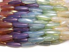 8x22mm Gemtone Opal Luster Czech Glass Elongated Oval Beads (5) #4547