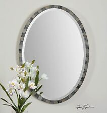 "NEW 29"" LIGHT DARK ANTIQUED MIRROR FRAME OVAL BEVELED WALL VANITY MIRROR MODERN"