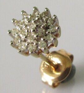 Gold Diamond Earring - Single 9ct Gold Multi Diamond Round Cluster Stud Earring