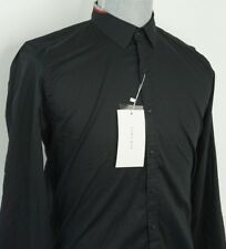 ZARA MAN New Slim Fit Medium Black Long Sleeve Button Up Shirt Accents on Collar