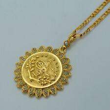 Turkey Gold Coin Necklace Arab Jewelry Turks Pendant Chain Rhinestone Turkish