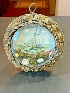 1800s Sailors Valentine Victorian Shell Art Bubble Glass seashell frame