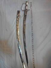 HANDMADE INDIAN SWORD  FULL STEEL BLADE FULL COWER SILVER HANDLE MARRIGE TYPE
