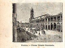 Stampa antica FAENZA piccola veduta piazza Ravenna Romagna 1897 Old Print