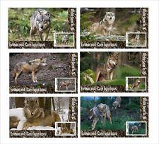 2020  WOLF  6 SOUVENIR SHEETS MNH UNPERFORATED WOLFS WILD ANIMALS FAUNA